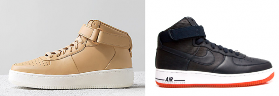Céline's mid-top calfskin sneaker (left) & Nike's Air Force 1 (left)