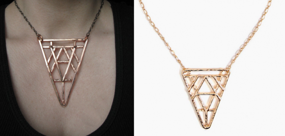 Spinello's Art Deco Revival Necklace (left) and the version Nasty Gal was stocking (right)