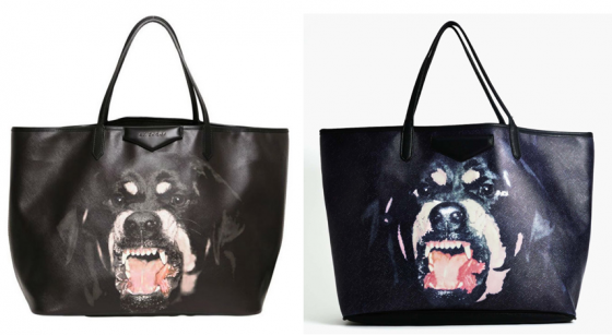 Givenchy's Rottweiler bag (left) & Nasty Gal's version (right)