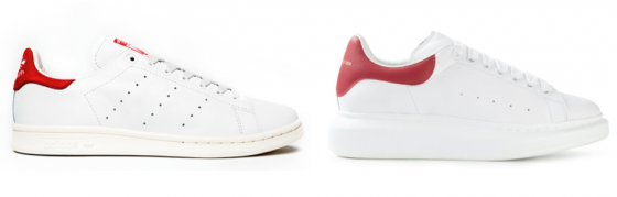 Adidas Stan Smith (left) & Alexander McQueen Oversized Sneaker (right)