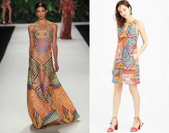 Naeem Khan S/S 2014 (left) and J. Crew's Geo brushstroke dress (right)
