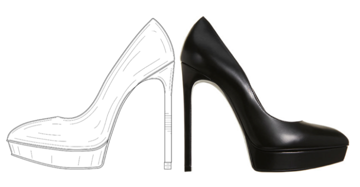 A drawing from YSL's patent registration (left) & the Janis style shoe (right)