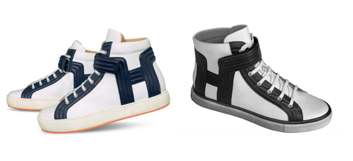 Hermès Lions sneakers (left) & an image from the Hermès design patent (right)