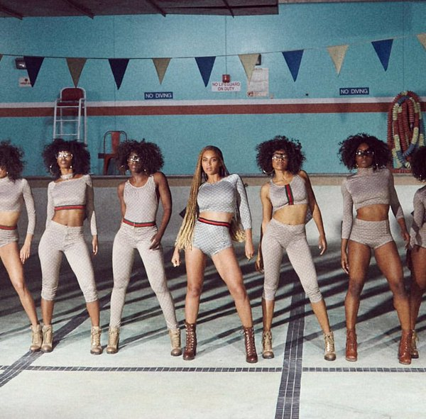"Gucci ""inspired"" looks, according to the house's Instagram account, which posted a photo with the caption: ""In an homage to Gucci, Beyoncé and her  Formation chorus wear Gucci inspired bodysuits."""