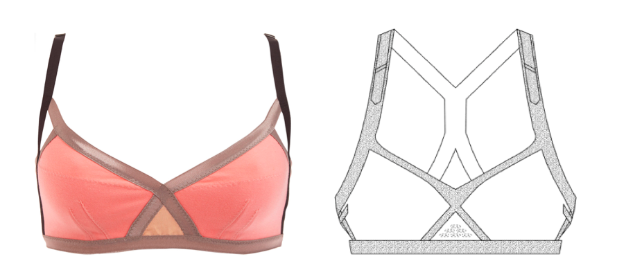 VPL's Insertion Bra (left) & a Drawing of Reebok's patent-protected bra (right)