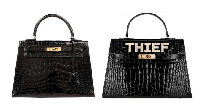 "Hermès Kelly bag (left) & Mawi's ""Thief"" bag (right)"