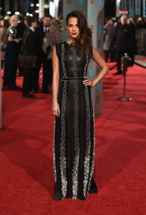 Alicia Vikander in custom Louis Vuitton