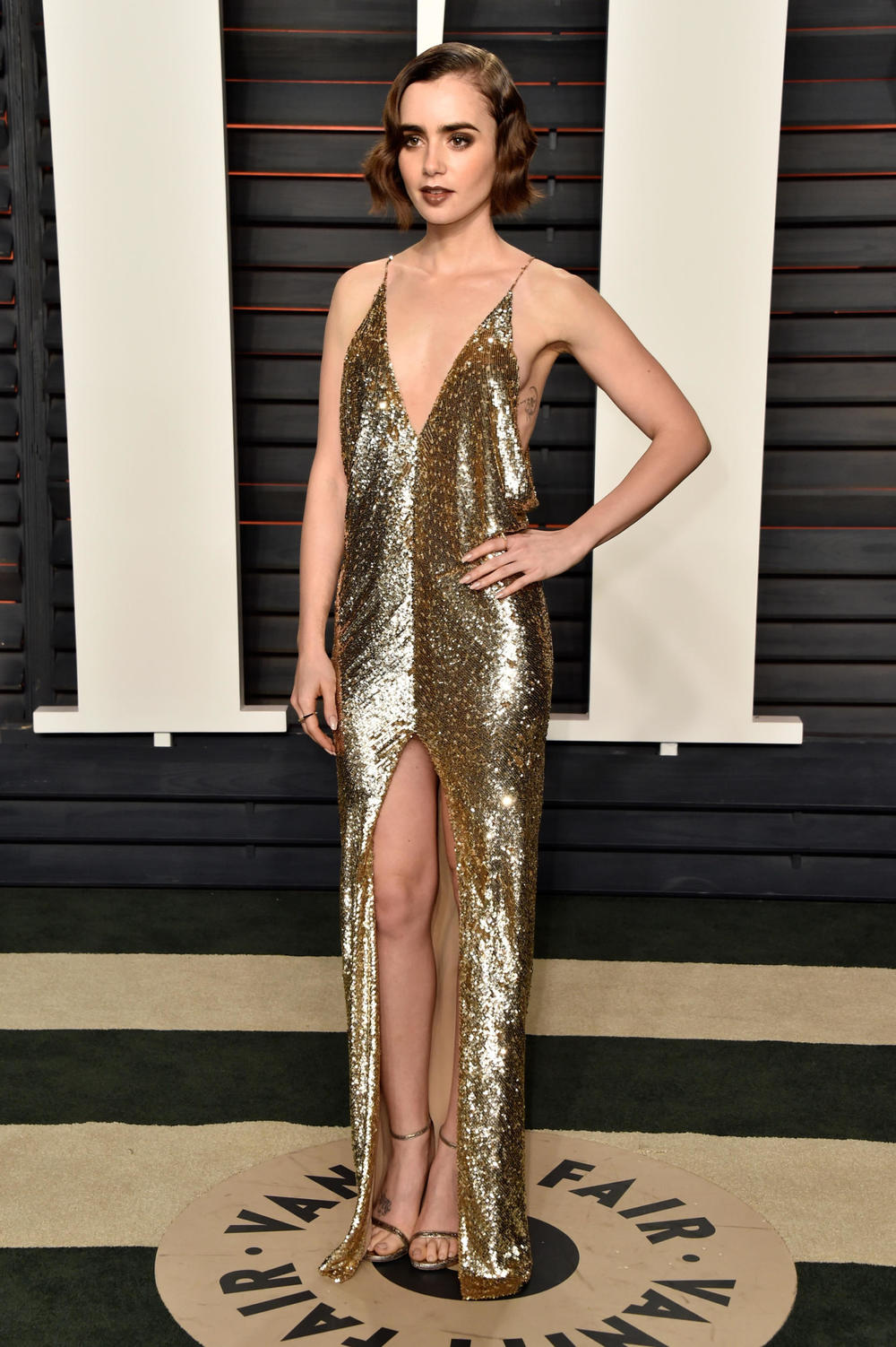 Lily Collins in YSL couture