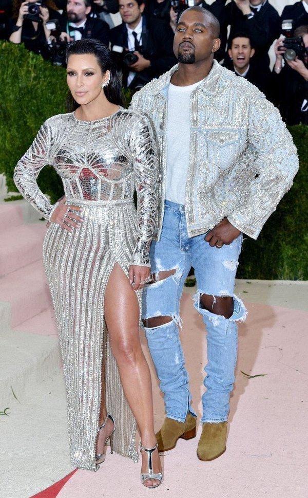 Kim and Kanye in Balmain