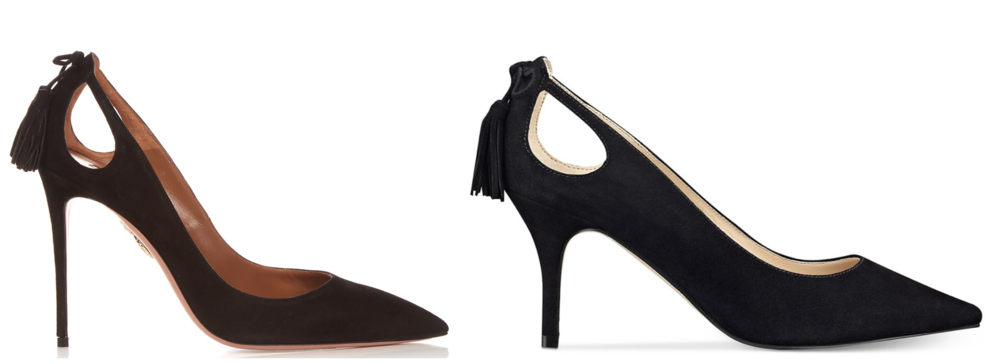 Aquazzura's Marilyn shoe (left) & Marc Fisher's Teagin shoe (right)