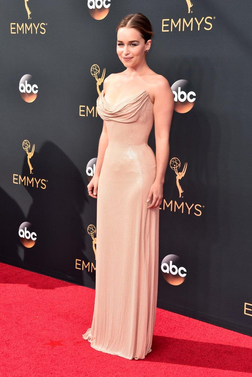 Emilia Clarke in custom Atelier Versace