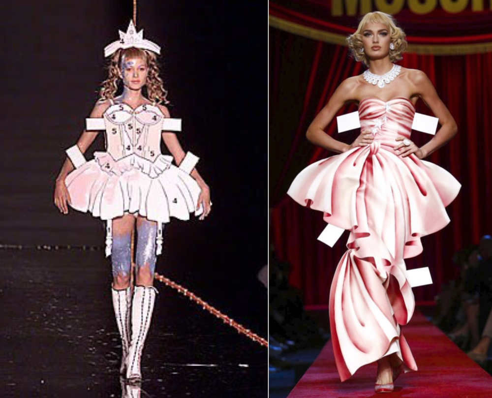 John Galliano F/W 2000 (left) and Moschino S/S 2017 (right)