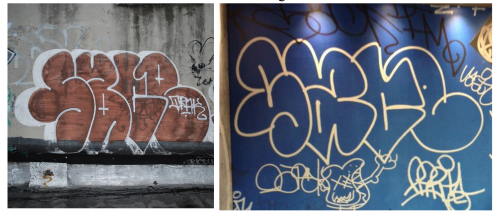 Snow's graffiti (left) and the interior of a McDonald's in London (right)