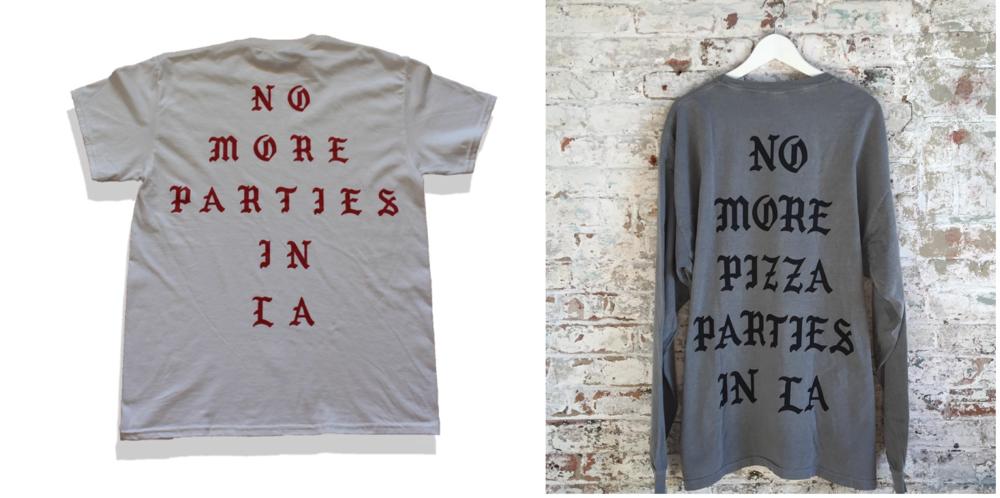 Kanye West's t-shirt (left) & Freedman's t-shirt (right)