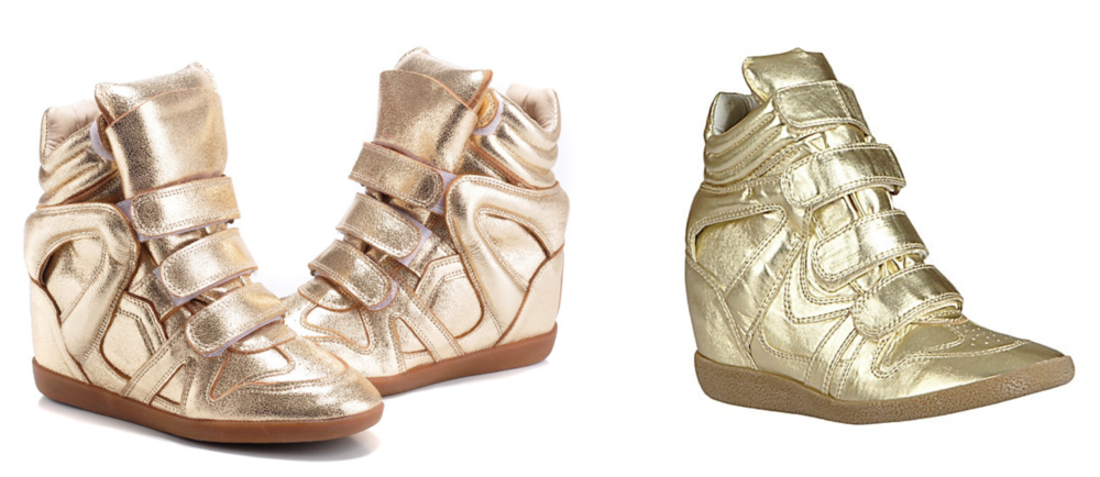 Isabel Marant's Willow sneaker (left) & Steve Madden's version (right)