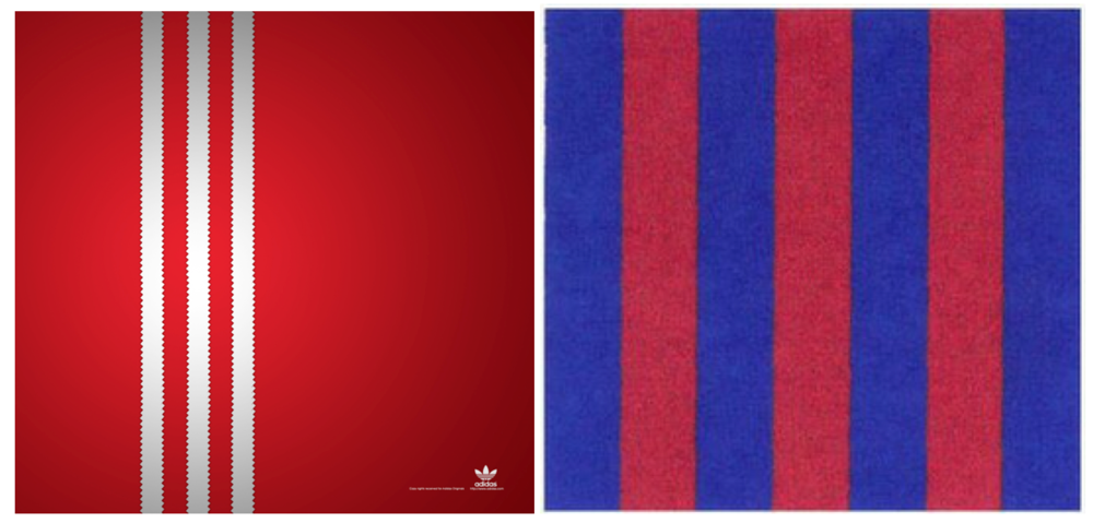 adidas' Three Stripe Mark (left) & FC Barcelona's Seven Strip Mark (right)