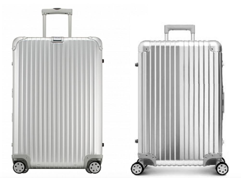 Rimowa suitcase (right)v. Deseño suitcase (left)