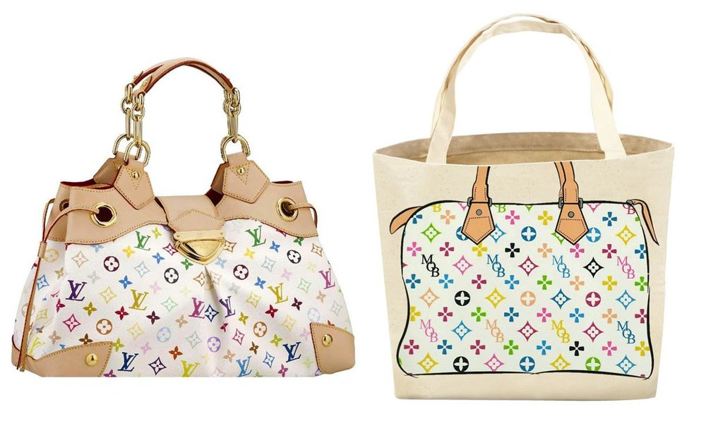Louis Vuitton bag (left) and My Other Bag tote (right)