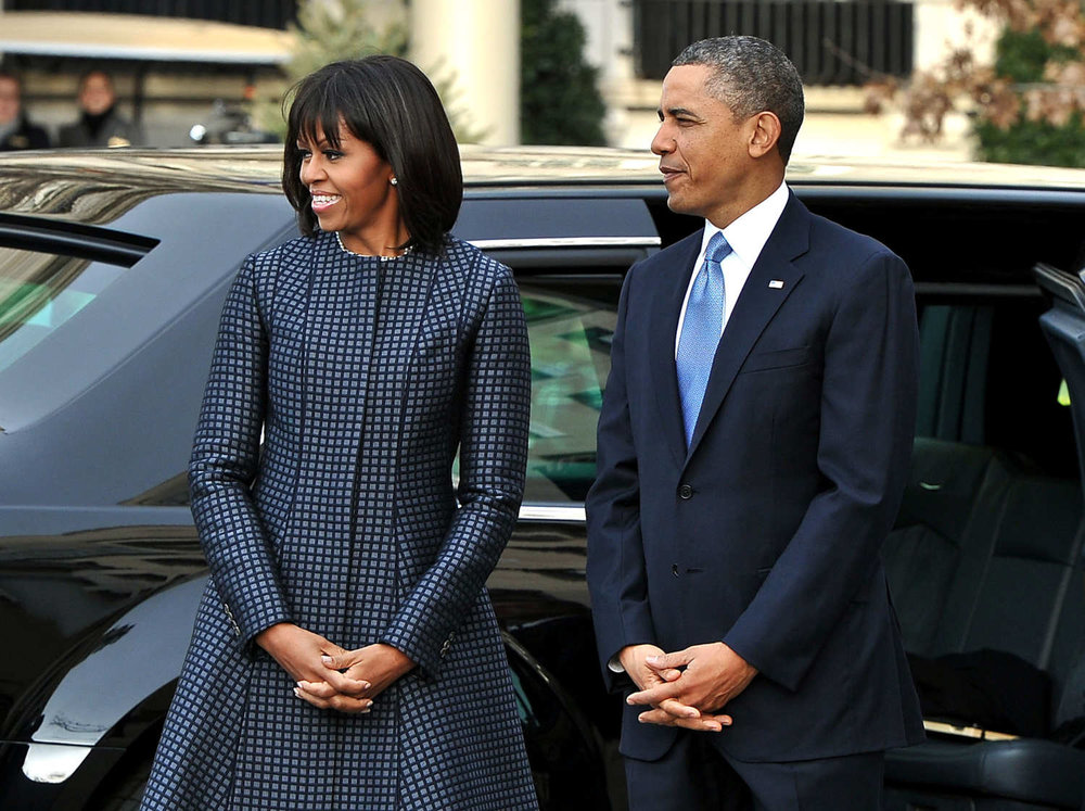Obama in a Thom Browne coat