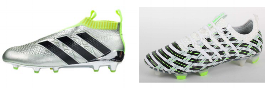 adidas cleat (left) and Puma's allegedly infringing cleat (right)