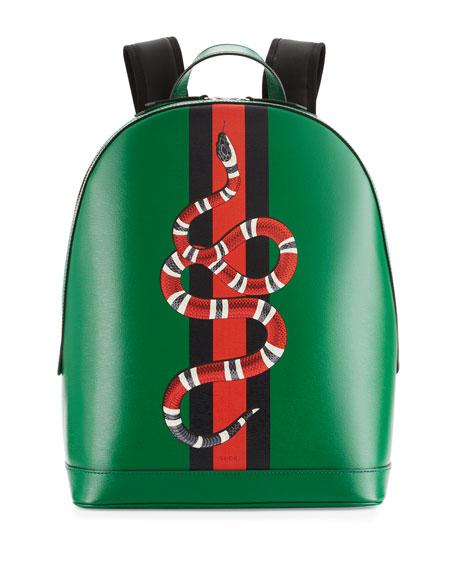 Backpack bearing Gucci's banded snake mark