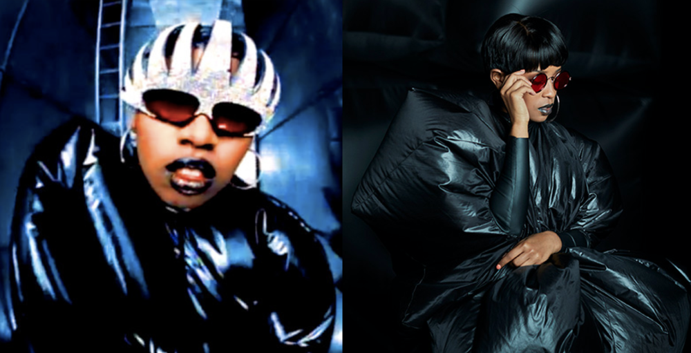 Missy Elliott in 1997 (left) and Def Loaf for adidas in 2017 (right)