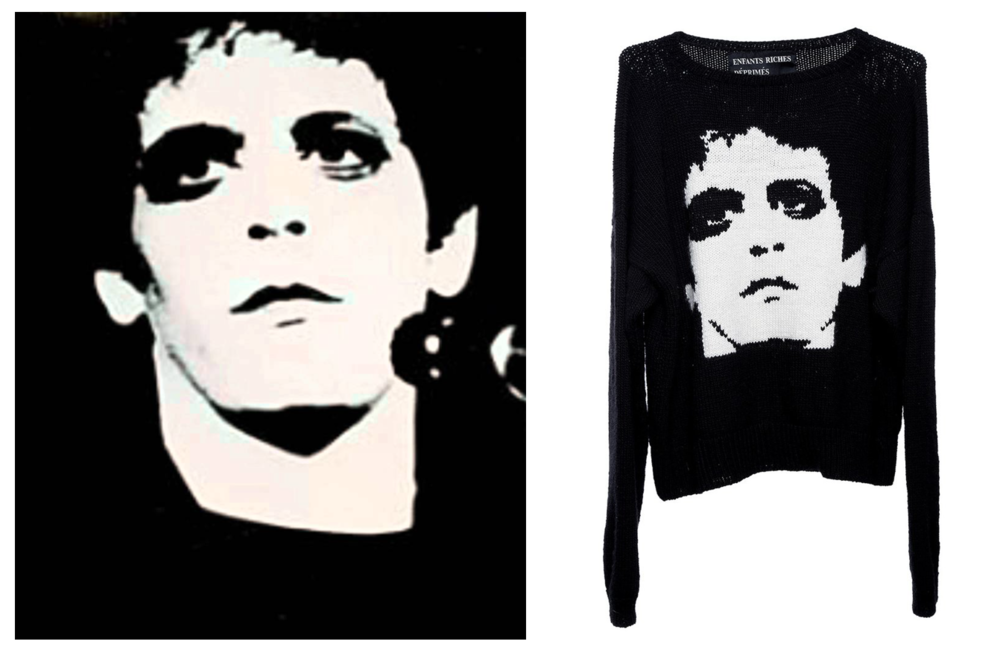 Mick Rock's photo (left) & Enfants' sweater (right)