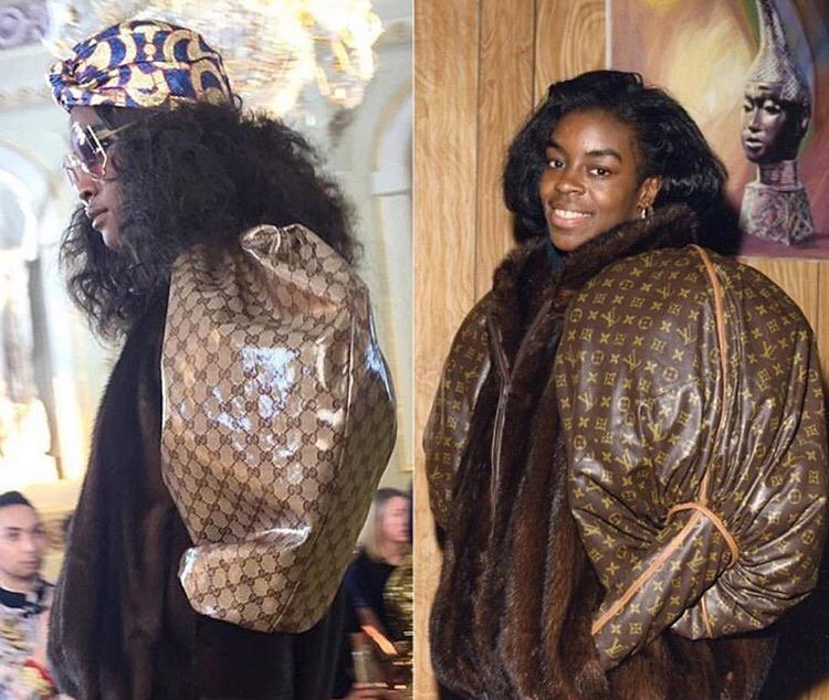 Gucci Cruise 2018 (left) and Dapper Dan's jacket circa 1980 (right)