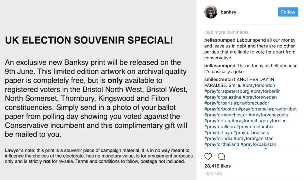 banksy is offering free prints for non conservative voters the
