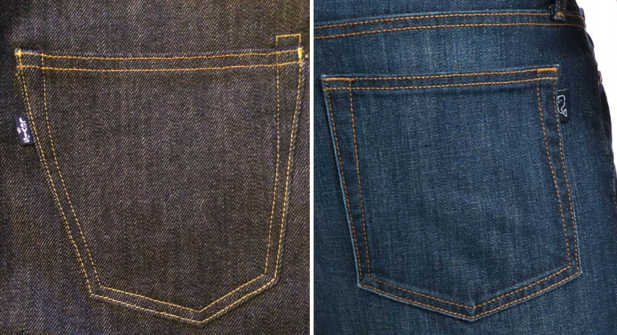 Levi's tab (left) & Vineyard Vines' tab (right)