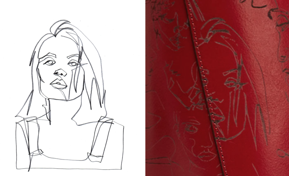 Schmitz's sketch (left) & a portion of Zara's bag (right)