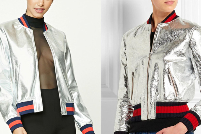 Forever 21's jacket (left) & a Gucci jacket (right)