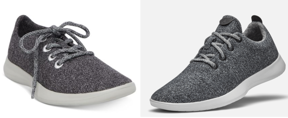 Steve Madden's Traveller sneaker (left) & Allbirds' Wool Runner (right)