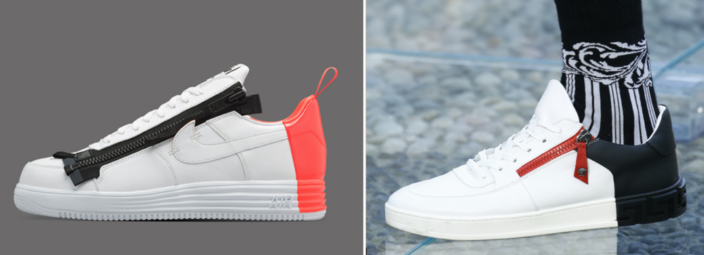 ACRONYM x Nike sneaker (left) & Versace sneaker (right)