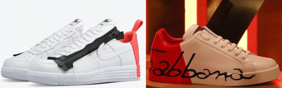 ACRONYM x Nike sneaker (left) & Dolce & Gabbana sneaker (right)