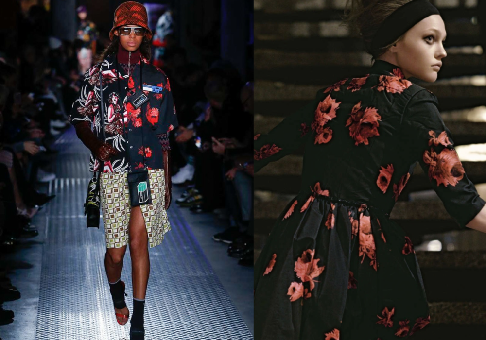 Prada F/W 2018 roses (left) & Prada F/W 2005 (right)