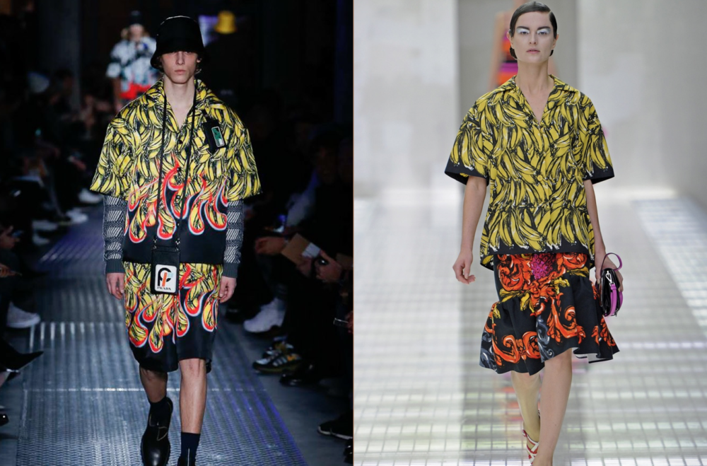 Prada F/W 2018 bananas (left) & Prada S/S 2011 (right)