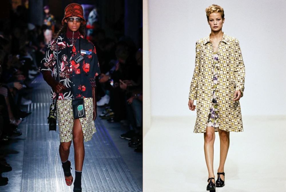 Prada F/W 2018 geometric print (left) & Prada S/S 1996 (right)