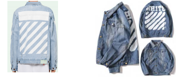 Off-White (left) and a Wish.com product listing (right)