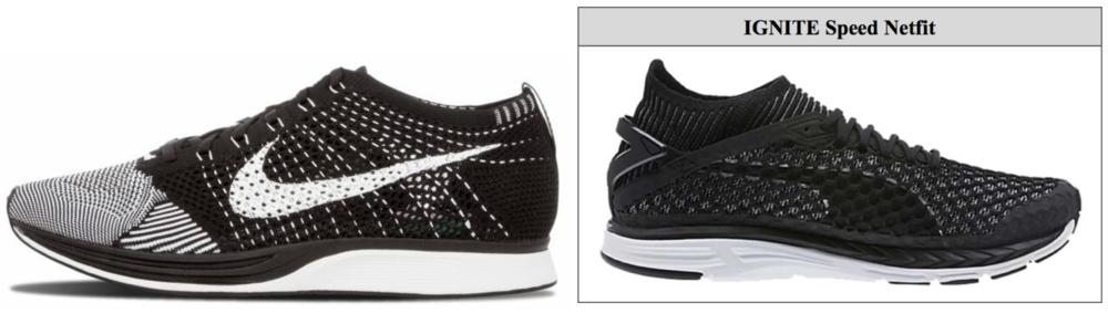 Nike Flyknit sneaker (left) & Puma's knitted sneaker (right)