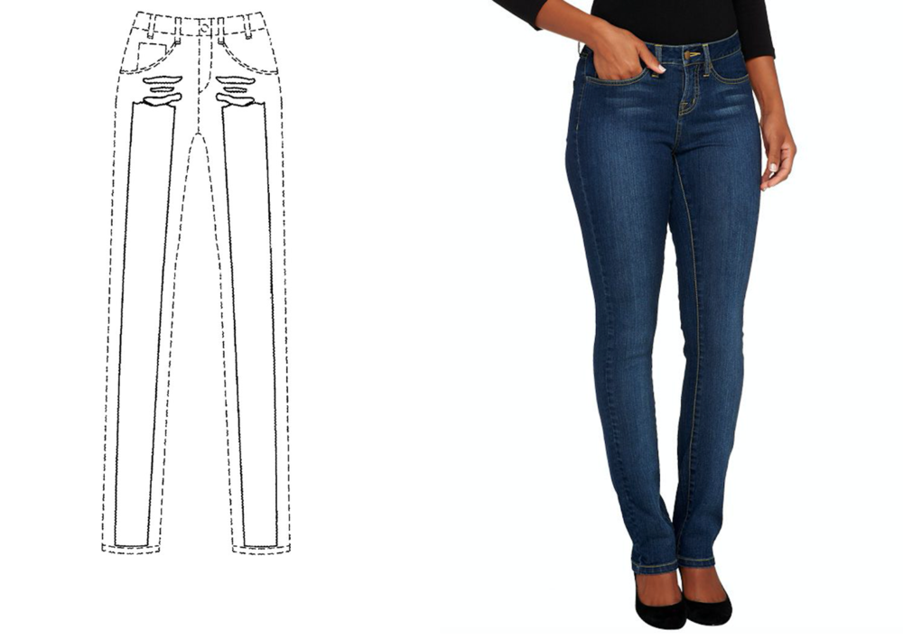 image: Skinny Brand Jeans patent drawing (left) & its jeans (right)