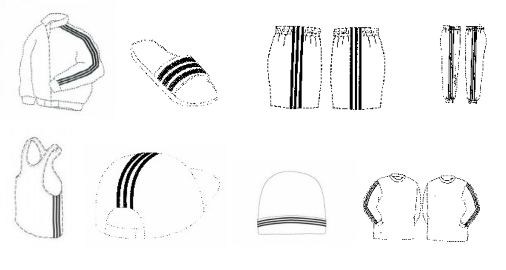 A number of adidas' trademark drawings