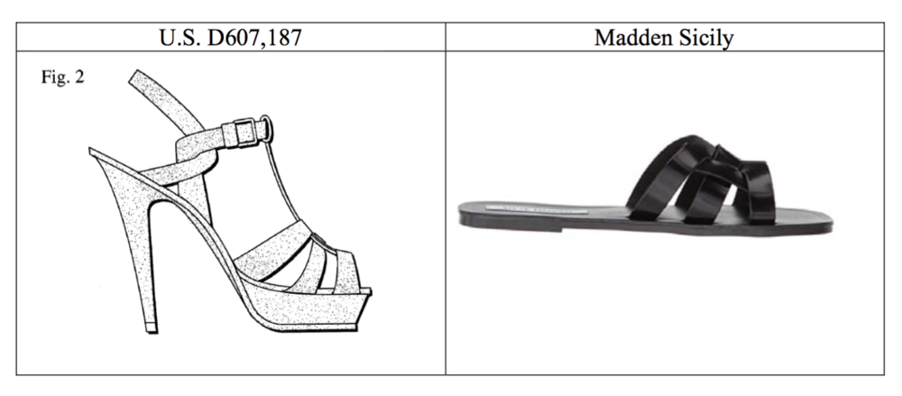 YSL's Tribute patent drawing (left) & Madden's Sicily (right)