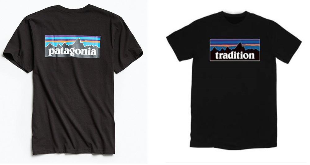 a Patagonia tee (left) & Tradition's version (right)