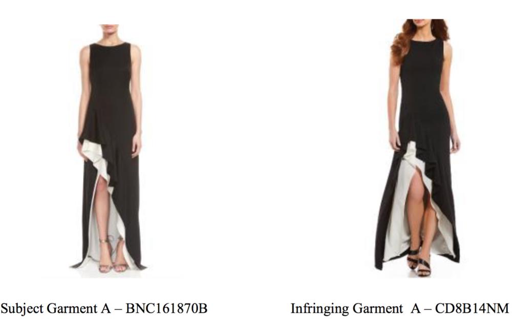 Halston's dress (left) & CK's version (right)