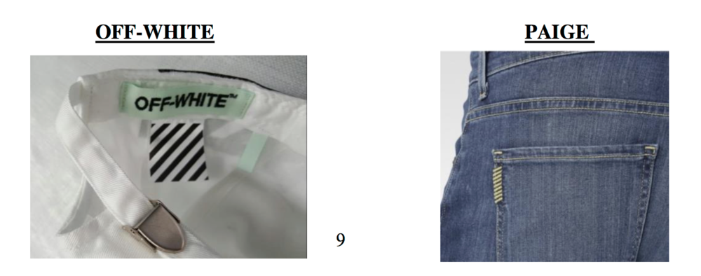 An example of Off-White mark (left) & Paige's mark (right)