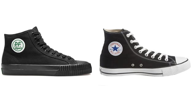 One of the defendants'' sneakers (left) & Converse's Chuck Taylor (right)