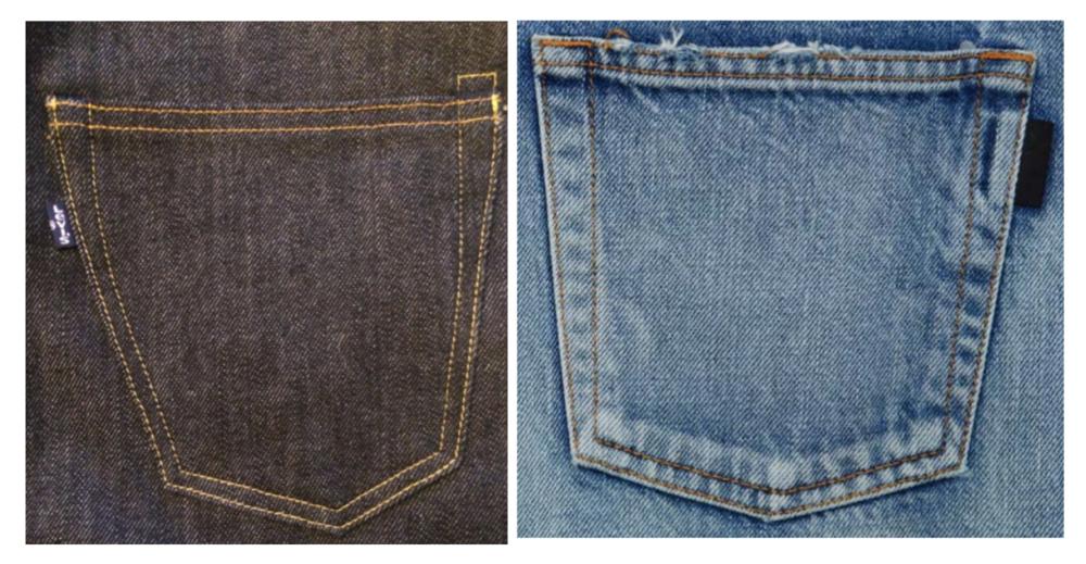 Levi's pocket tab (left) & YSL's pocket tab (right)