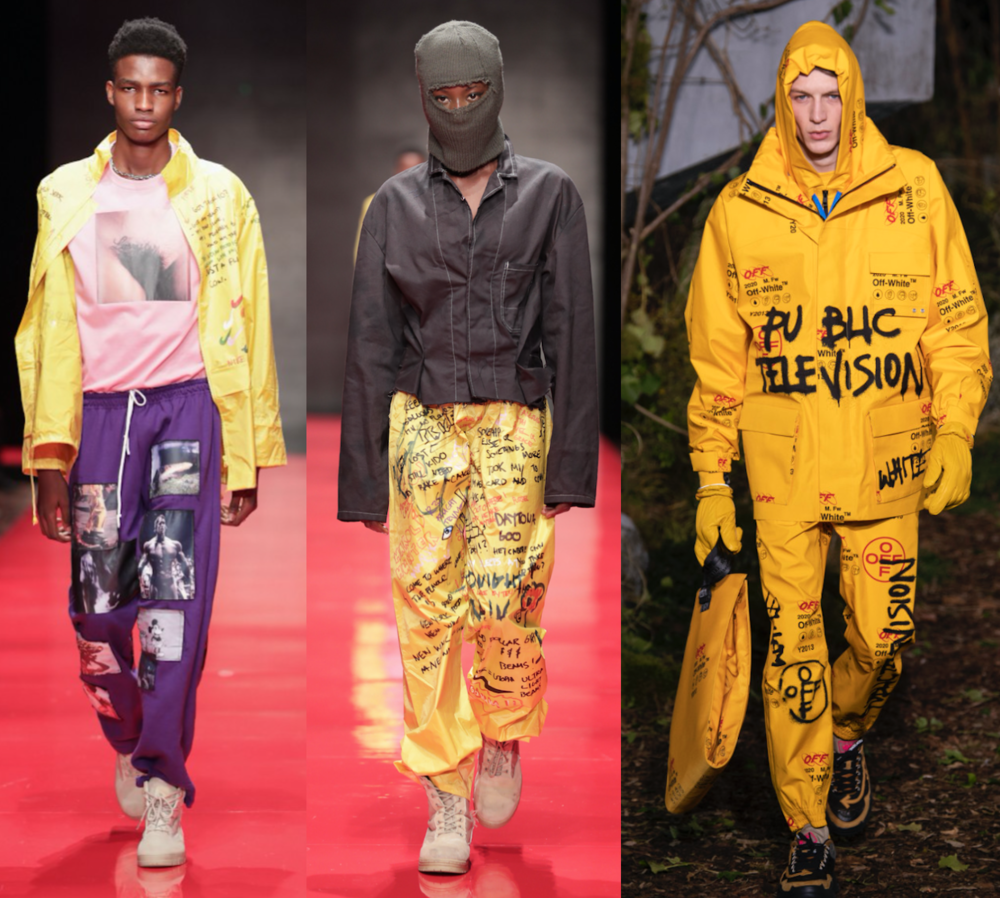 image: Colrs Fall/Winter 2018 left, center) & Off-White Fall/Winter 2019 (right)