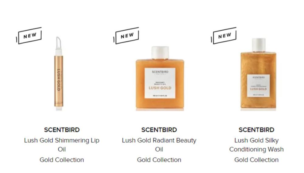 Scentbird's Lush Gold line